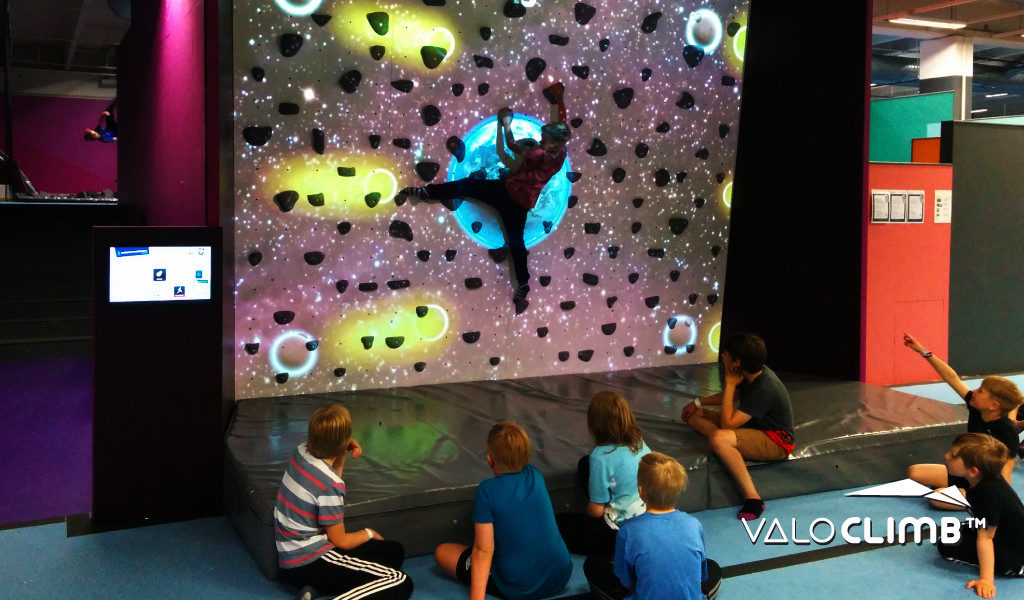 Astromania for ValoClimb AR climbing wall game for indoor locations and trampoline parks
