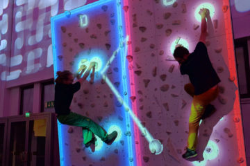 Climball for ValoClimb AR climbing wall game for indoor locations and trampoline parks