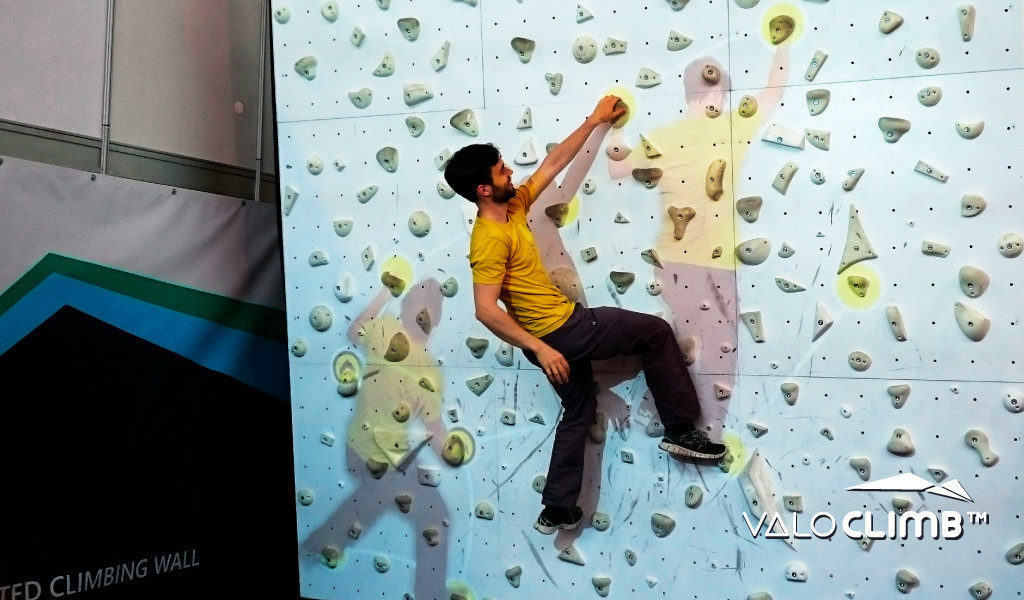 Augmented problems for ValoClimb AR climbing wall game for indoor locations and trampoline parks
