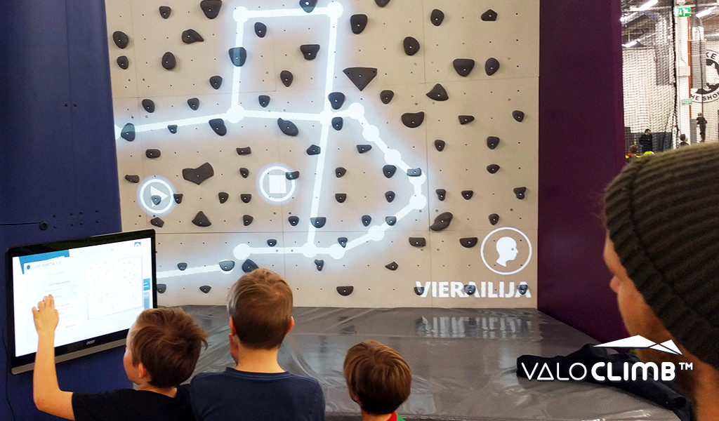 Sparks for ValoClimb AR climbing wall game for indoor locations and trampoline parks