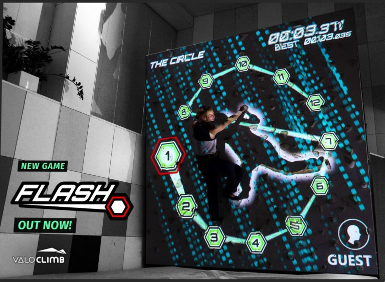 Flash for ValoClimb AR climbing wall game for indoor locations and trampoline parks