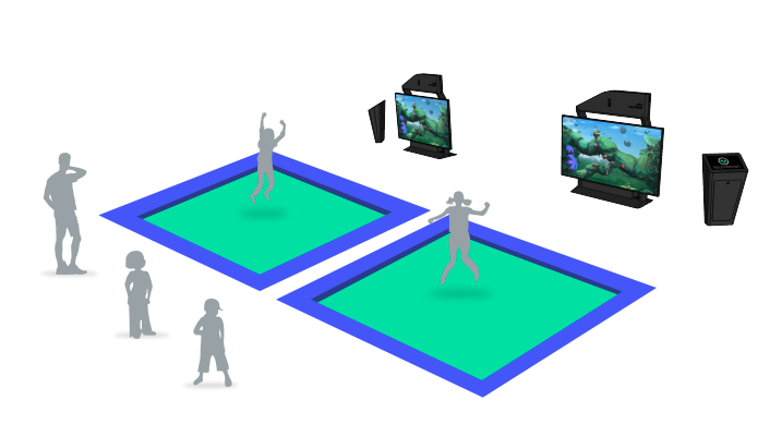ValoJump double setup for single mixed reality trampoline games
